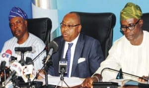 L-R: Special Adviser to Lagos State Governor on Housing, Mr Jimoh Ajao, Commissioner for Housing, Mr Bosun Jeje and Commissioner for Information and Strategy, Mr Lateef Ibirogba, at a news conference by the Commissioner for Housing on the activities of the ministry in Lagos, recently.