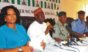 L-R: Deputy Director, Department of Security Service (DSS), Mrs Marilyn Ogar, Director-General, National Orientation Agency (NOA), Mr Mike Omeri, Director, Defence Information, Maj.-Gen. Chris Olukolade and Force Public Relations, Mr Frank Mba, at the news conference on security in Abuja, yesterday.