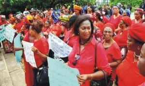 Members of Women for Peace and Justice, South-East Zone, during a peaceful rally over the abduction of   Government Secondary School girls, Chibok in Enugu , recently. Photo: NAN