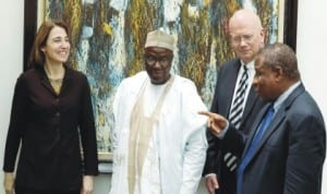 L-Rt: U.S. Undersecretary of State for Civilian Security, Democracy and Human Rights, Sarah Sewall, Nigeria's Minister of Foreign Affairs, Amb. Aminu Wali, U.S. Ambassador to Nigeria, Mr James Entwistle and Nigeria's Ambassador to  the  U.S.,  Prof.  Ade Adefuye, during the visit of the U. S. Under Secretary to Ministry of Foreign Affairs in Abuja, recently.