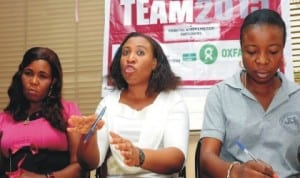 L-R: Programme Officer, Women's International League for Peace and Freedom Nigeria (WILFPF), Ms Ebere Eze, National President, Mrs Joy Onyeso and Publicity Officer, Miss Ifunanya Chiakwa, addressing a news conference on Women Participation in 2015 elections in Enugu, yesterday.
