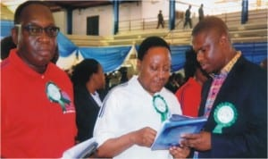 Member of House of Representatives, Hon Dakuku Peterside (right), conferring with the Secretary to Rivers State Government, Mr George Feyii (middle) and Commissioner for Social Welfare and Rehabilitation, Hon Joe Philip Poroma, at the 2014 inter-denominational church service to mark Children's Day in  Port Harcourt, last Tuesday.