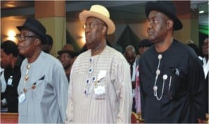 L-R: Former Governor of Rivers State, Chief Rufus Ada-George, former Minister of Culture and Tourism, Alabo Graham-Douglas and Senator Magnus Abe, during the 2nd International Conference on Democracy and Good Governance, at Obi Wali Convention Centre, Chief G.U.Ake Road , Port Harcourt, yesterday