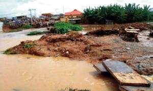 Part of a makeshift bridge at Apete in Ibadan where ten people were suspected  to have drowned when the bridge collapsed after a downpour, recently. Photo: NAN