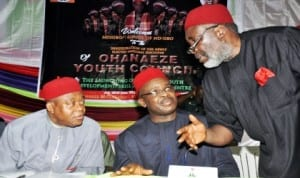 L-R: Gov. Theodore Orji of Abia State, Chairman of the occasion, Lt.-Gen. Azubuike Ihejirika (Rtd) and President General, Ohaneze-Ndigbo, Chief Garry Enwo-Igariwey, at the Inauguration of Ohaneze Youth Council in Enugu recently. Photo: NAN