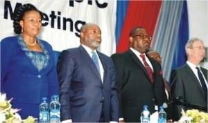L-R: Executive Director, Mobil Oil Nigeria Plc, Mrs Mayen Adetiba, Company Secretary, Mr Emmanuel Amade, Chairman/Managing Director, Mr Adetunji Oyebanji and Executive Director, Mr Alastair MacNaughton,  at the company's Annual General Meeting in Lagos, last Wednesday.