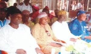 President, Music Advertisement Association of Nigeria, Alhaji Waheed Oyediran Mosebolatan (2nd right), with Assistant General Secretary, MAAN, Prince Aderemi (2nd left), Auditor, Oredunni Corporate Club, Port Harcourt, Mr. Oloyede Alabi (right) and Alhaji Waidi Ayansola, during the opening of RNB Hotels, Rumuodomaya, Port Harcourt last Saturday.