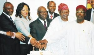 L-R: President, Pearl Awards Nigeria, Mr Tayo Orekoya, Chairman, Investment and Securities Tribunal, Mrs Ngozi Chianakwalam, chairman of the occasion, Dr Kalu Idika Kalu, Special Adviser, Pearl Awards Nigeria, Chief Alex Akinyele and Chairman, Pearl Awards Board of Governors, Alhaji Umar Abdullahi, cutting a cake during the 10th Annual Pearl Awards public lecture for Capital Market Development in Lagos, recently.