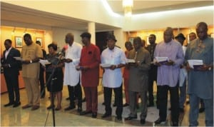 Newly appointed Caretaker Committee Chairmen of local government areas of Rivers State, taking their oath of office in Port Harcourt last Saturday.