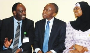 L-R: Director, Institutional Development, Africa Tax Administration Forum (ATAF), Mr Kennedy Onyonyi, representative of the Acting Executive Chairman, Federal Inland Revenue Service (FIRS), Mr Osy Chuke and a Coordinating Director, FIRS, Hajiya Queensley Seghosime, at the ATAF Seminar on VAT in Financial Services in Abuja last Monday.