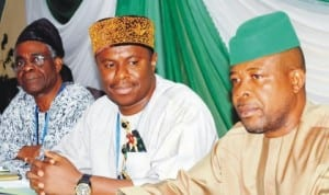 L-R: President, Nigerian Economic Society, Prof. Akin Iwayemi, chairman, House of Representatives Committee on Petroleum Resources (downsream), Rep. Dakuku Peterside and Deputy Speaker, House of Representatives, Chief Emeka Ihedioha, at the third downstream stakeholders conference in Abuja last Monday. Photo: NAN