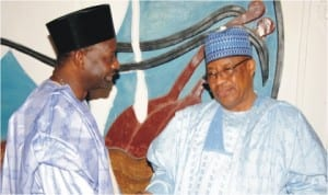 Former Military President, Gen. Ibrahim Babangida (right) being welcomed by Gov. Ibrahim Dankwambo of Gombe State, during his condolence visit to the state over the death of the Emir of Gombe, Alhaji Shehu Abubakar, last Wednesday. Photo: NAN