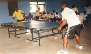 Tennis players struggling for honours during a national sports event in Port Harcourt, Rivers State recently.