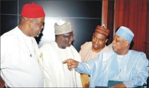 L-R: Minister of Labour, Chief Chukwuemeka Wogu; Minister of Transport, Alhaji Idris Umar; Minister of State for Works, Amb. Bashir Yuguda, Minister of Defence, Gen. Aliyu Gusau (Rtd), at the Federal Exceutive Council Meeting in Abuja last Wednesday