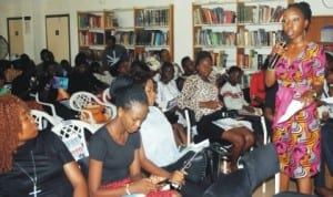 Guest speaker, Edem  Andah (right), speaking during a lecture on the importance of Freedom of Information Bill vis-a-vis Press Freedom for the Development of Democracy in Nigeria to mark World Press Freedom Day at the American Corner,  Ibadan, recently..