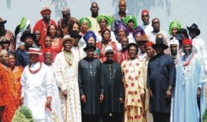 President Goodluck Jonathan, Vice President Namadi Sambo and members of Oil and Gas producing communities in Nigeria, after a meeting at the Presidential Villa in Abuja recently. Photo: NAN