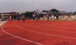 Athletes struggling for honours during 100m race during a national event in Port Harcourt, Rivers State, recently.
