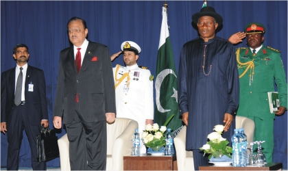 President Goodluck Jonathan (2nd right) and President Mamnoon Hussain
