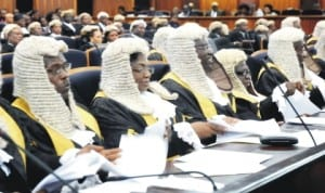 A cross-section of judges at the valedictory court session in honour of Justice Christopher Chukwuma-Eneh at the Supreme Court in Abuja recently.