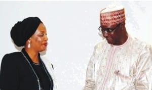 Acting Executive Secretary, National Investment Promotion Council, Alhaji Hassan Abubakar (right), handing over to his successor, Mrs Salamatu Umar, in Abuja,  recently. Photo: NAN