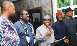 L-R: Governor Sullivan Chime of Enugu State, Deputy Governor Eze Madumere of Imo State, Governor Theodore Orji  of Abia State,  Governor Martin Elechi of Ebonyi State and Deputy Governor Nkem Okeke of Anambra State, addressing newsmen after South-East Governors meeting in Enugu, last Sunday.