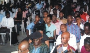 Members of the National Association of Nigerian Students and youths of Rivers State meeting to reject the appointment of Justice Daisy Okocha as administrative Judge of Rivers State High Court in Port Harcourt, yesterday. Photo: Egberi Sampson
