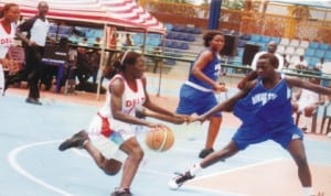 Basketball Players in action during national event in Port Harcourt, Rivers State recently.