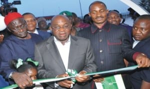 Senate President David Mark (middle), commissioning an aircraft for the lifting of pilgrims to Israel, Rome and Greece in Abuja recently. With him are Chairman, Senate Committee on Police, Senator Paulinus Igwe (left) and Executive Secretary, Nigerian Christian Pilgrims Commission, Mr John-Kennedy Opara (2nd right).