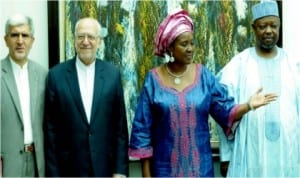 L-R: Iranian Ambassador to Nigeria, Saeed Koozechi, Iranian Minister of Industry, Mines and Trade/Head of Iranian delegation, Mr Mohammad Nemaizadeh, Minister of State (1) for Foreign Affairs, Prof. Viola Onwuliri and Nigerian Ambassador to Iran, Alhaji Tukur Mani, at the 5th Nigeria-Iran Joint Commission Meeting in Abuja, yesterday