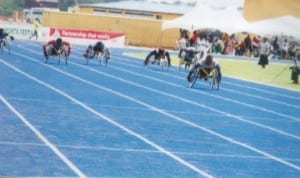 Para-athletes racing for honours during a national sports event in Port Harcourt, Rivers State recently.