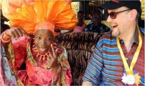 Director, Nike Centre for Arts and Culture, Chief Nike Davies-Okundaiye (left), with Ambassador of the European Union to Nigeria, Mr Michel Arrion, at the 2014 Ogidi-Ela Day in Kogi State, last Saturday.