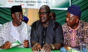 From Left: Governor Abdulfatai Ahmed of Kwara State, Chairman, Nigerian Union of Journalists, Lagos Council, Mr Deji Elumoye and Nuj Secretary, Zone B, Mr Gbenga Lawal, at a lecture to mark June 12 in Lagos recently. Photo: NAN