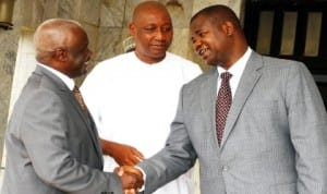 Managing Director, News Agency of Nigeria (Nan), Mr Ima Niboro (right), welcoming the chairman, Subsidy Re-investment and Empowerment Programme (Sure-p), Retired Gen. Martin Agwai to Nan Headquarters in Abuja last Wednesday. With them is National Nuj President/Member, Sure-p Board, Malam Mohammed Garba. Photo: NAN