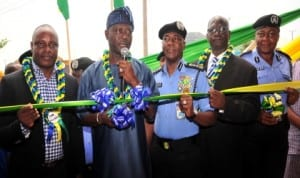 Minister of Police Affairs, Alhaji Abduljelili Adesiyan (2nd left), inaugurating a police hospital at Dei-dei in Abuja last Tuesday. With him are, IGP Mohammed Abubakar (3rd right), Chairman, Senate Committee on Police Affairs, Senator Paulinus Nwagwu (2n right), force medical officer, D.I.G. Grace Okudo (right) and the donor of the hospital, Chief Billy Ofessi.