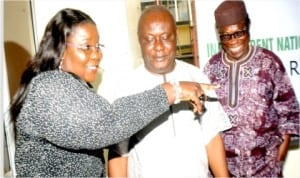 L-R:Rivers State Commissioner for Information and Communications, Mrs Ibim Semenitari, Rivers State Resident Electoral Commissioner, Mr Aniedi Ikoiwak and INEC Administrative Secretary, Mr Evurulobi Chinedu, at the inauguration of National Inter-Agency Advisory Committee on Voter Education and Publicity, Rivers State chapter in Port Harcourt, yesterday