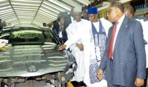 L-R: Former head of State, Retired Gen. Yakubu Gowon, Gov.Mukhtar Yero of Kaduna State and Minister of Industry, Trade and Investment, Dr Olusegun Aganga, at the launch of Peugeot 301 Production in Nigeria in Kaduna yesterday. Photo: NAN