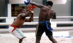 Traditional Boxers struggling for honours during a national event in Port Harcourt, Rivers State recently
