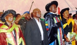 From Right: Chairman, Governing Council of Lagos State College of Health Technology, Dr Abiola Tilley-Gyado, Lagos State Health Commissioner, Dr Jide Idris, Governor Babatunde Fashola of Lagos State and the  Special Adviser on Public Health, Dr Yewande Adeshina, at the 2nd Convocation of Lagos College of Health Technology in Lagos  yesterday. Photo: NAN