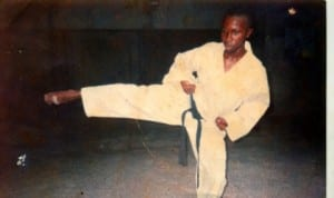 A karate instructor in Rivers State in action during a karate clinic in Port Harcourt, recently.