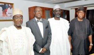 L-R: Ministerial nominees, Dr Abdul Bulama, Prince Adedayo Adeyeye, Alhaji Ibrahim Shekarau, and Dr Steve Oru,  before their screening by the Senate in Abuja, last Wednesday