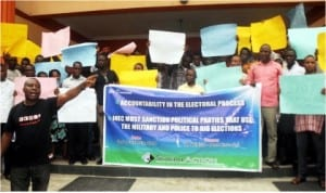 Members of Ogoni Solidarity Forum protesting over non implementation of United Nations Environment Programme Report in Port Harcourt, last Wednesday