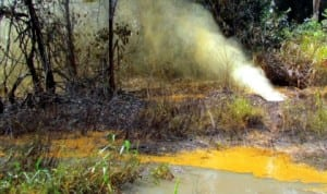 Mixture of oil and gas discharging into the environment at Ikarama Oil Fields operated by Nigeria Agip Oil Company in Yenagoa Lga, Bayelsa State.