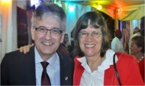 German Ambassador to Nigeria, Mrs Dorothee Janetzke-Wenzel and her French counterpart, Jacques Champagne De Labriolle, after the quarter-final match between both countries at the 2014 World Cup in Brazil.