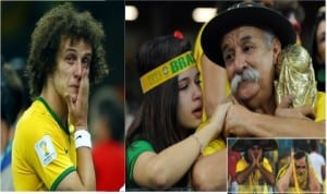 Brazil's  David Luiz (left) cries after his team lost 7-1 to Germany in their 2014 World Cup semi-finals at the Mineirao stadium in Belo Horizonte,  while emotional Brazil fans mourn the  defeat.
