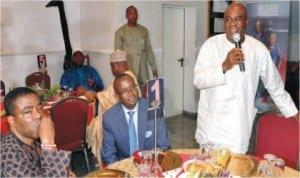 Senate President David Mark (right) speaking at the breaking of Ramadan fast by Senators at his residence in Abuja last Wednesday Night. With him are Sen.Ganiyu   Solomon (left), and Leader of Senate, Sen. Victor Ndoma-Egba.