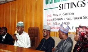 Chairman of the panel investigating the allegations of gross misconduct against the Governor of Adamawa State and his deputy, Mallam Buba Kaigama (2nd left), announcing the conclusion of the panel's public sitting in Yola last Saturday.