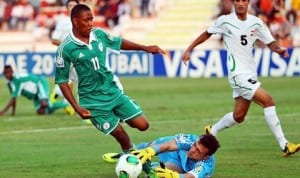 Ex-Eaglets, Musa Yahaya in action during the last FIFA U-17 World Cup in Dubai, UAE
