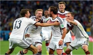 German players celebrating Mario Gnetze's extra time winner that secured the 2014 World Cup title for Germany on Sunday