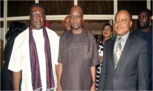 R-L: Secretary to the Rivers State Government, George Feyii, with Director General, Progressive Governors Forum (PGF), Mallam Salihu-Lukman and Deputy Governor of Imo State, Prince Eze Madumere during the opening ceremony of the Progressive Governors Forum in Port Harcourt.