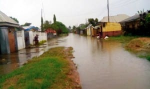 Flooded portion on Route 7, Federal Housing Estate, Ikot Ansa in Calabar last Tuesday.